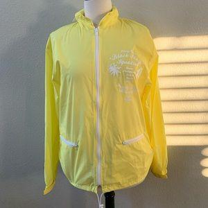STUSSY yellow crinkle rain anorak jacket sz M